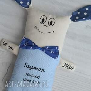 metryczka zabawki niebieskie miś dziecka - marynarski