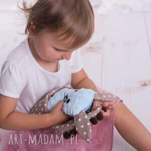 brązowe zabawki pies-hand-made przytulanka dziecięca pies w beciku