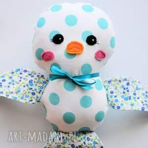 turkusowe zabawki ćwirek ptaszek lusia