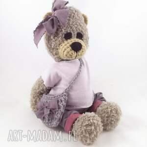 różowe zabawki dziewczynka szydełkowa misia lusia