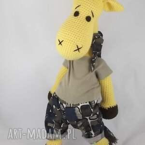 żyrafa zabawki żółte szydełkowa