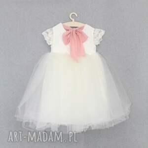 handmade zabawki tiulowa sukienka ecru z koronka