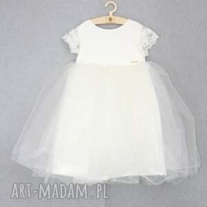 beżowe zabawki koronkowa tiulowa sukienka ecru z koronka