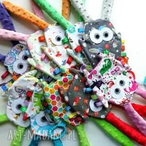ręcznie zrobione zabawki gryzak uszak metkowiec - kwiaty