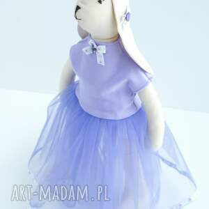 zając zabawki fioletowe tilda w tiulowej sukni