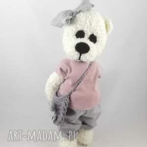 miś zabawki szare misiowa panienka wykonana ręcznie