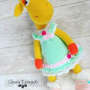 przytulanka zabawki żółte żyrafa gusia szydełkowa
