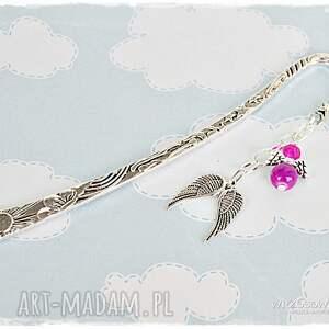 fioletowe zakładki anioł fuksjowy aniołek stróż - zakładka