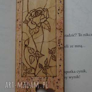 brązowe zakładki róża różana zakładka - ręcznie wypalana