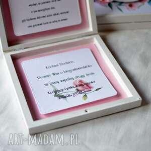 brązowe zaproszenia błgosławieństwo drewniane zaproszenie dla rodziców