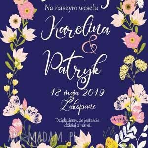 niekonwencjonalne zaproszenia plakat weselny powitalny - pełen