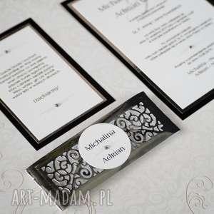srebrne zaproszenia jednokartkowe eleganckie ślubne wykonane