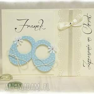 handmade zaproszenie błekit little shoes błękitne - zaproszenia