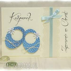 handmade zaproszenie niebieskie little shoes