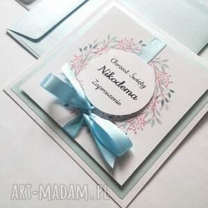 awangardowe zaproszenie niebieski na chrzest, roczek