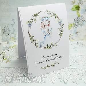świąteczny prezent białe zaproszenie na i komunię św