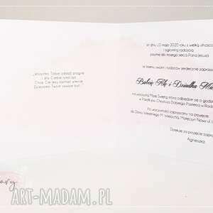 Papierowe Czary Mary zaproszenie: na Komunię wzór komunijne