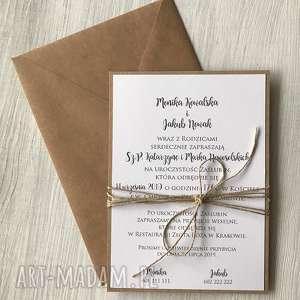 zaproszenie jednostronne zaproszenia wiązane sznureczkiem