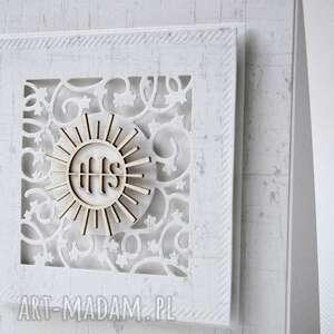 białe zaproszenie komunia pierwsza - pamiatka