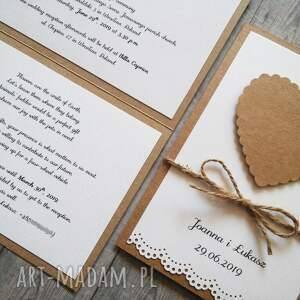 białe zaproszenie eko rustykalne na ślub