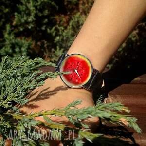 unikalne zegarki arbuz - skórzany zegarek z dużą