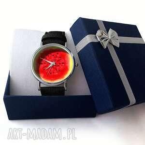 czarne zegarki owocowy arbuz - skórzany zegarek z dużą