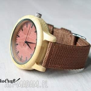 beżowe zegarki zegarek bambusowy z ceglastą