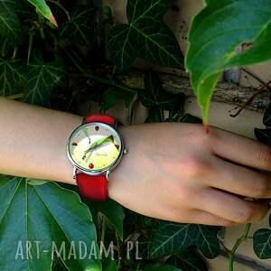 ręcznie wykonane zegarki zegarek biedronki - skórzany z dużą
