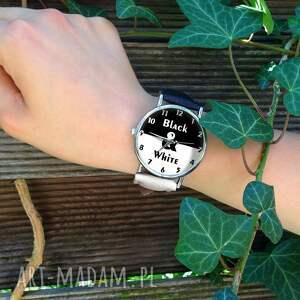 zegarki black black&white - skórzany zegarek z dużą