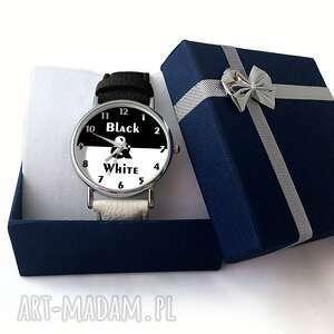 czarne zegarki white black&white - skórzany zegarek z dużą