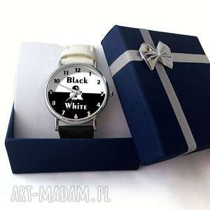 czarne zegarki zegarek black&white - skórzany z dużą