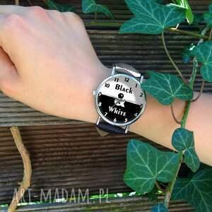 niebanalne zegarki zegarek black&white - skórzany z dużą
