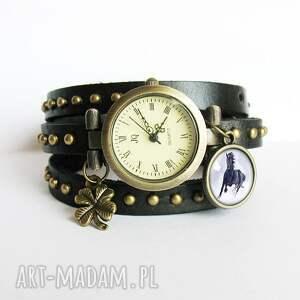 czarne zegarki bransoletka, zegarek - czarny koń