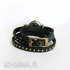 handmade zegarki zegarek bransoletka, czarny koń