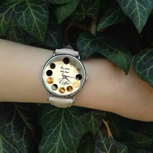 ręczne wykonanie zegarki coffee time! skórzany zegarek