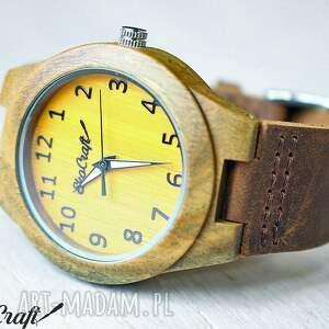 zegarek zegarki żółte damski drewniany canary