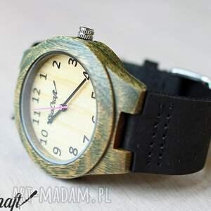 zegarek zegarki fioletowe damski drewniany leaf