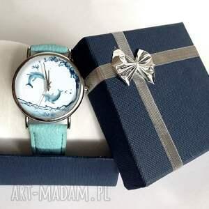 białe zegarki delfiny - skórzany zegarek z dużą