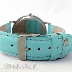 delfiny zegarki niebieskie - skórzany zegarek z dużą