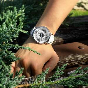 ręcznie wykonane zegarki zegarek dmuchawiec - skórzany z