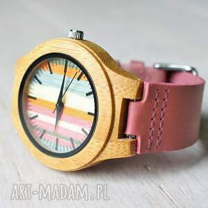 drewniany zegarki różowe damski zegarek flamingo
