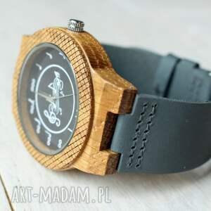 hand made dębowy drewniany zegarek music eagle owl