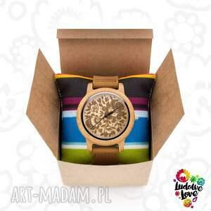 ludowy zegarki drewniany zegarek kwiaty