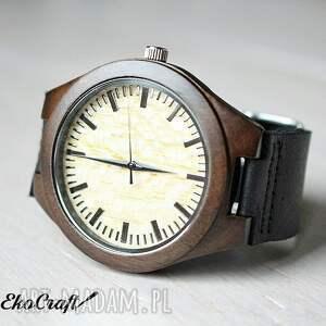 czarne zegarki drewniany zegarek z sandałowca, na