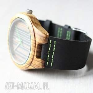 handmade zegarki zegarek drewniany black-green zebra
