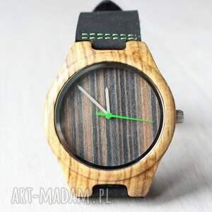 czarne zegarki zebra drewniany zegarek black-green