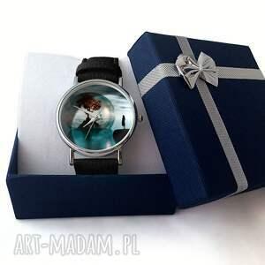 niebieskie zegarki życia drzewo - skórzany zegarek z
