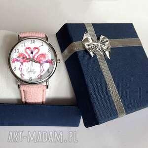 różowe zegarki zegarek flamingi - skórzany z dużą