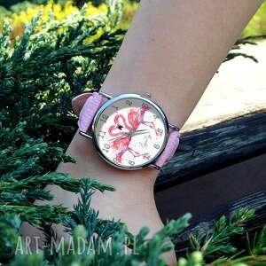 nietypowe zegarki zegarek flamingi - skórzany z dużą