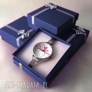 białe zegarki flaming flamingi - zegarek damski na